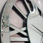 Circle Roma Silver Model Gümüş Renk Dekoratif Aynalı Duvar Saati-11