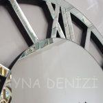 Circle Roma Silver Model Gümüş Renk Dekoratif Aynalı Duvar Saati-12