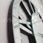 Circle Roma Silver Model Gümüş Renk Dekoratif Aynalı Duvar Saati-13