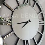 Circle Roma Silver Model Gümüş Renk Dekoratif Aynalı Duvar Saati-14