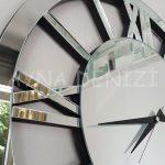 Circle Roma Silver Model Gümüş Renk Dekoratif Aynalı Duvar Saati-15