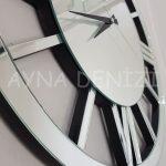 Circle Roma Silver Model Gümüş Renk Dekoratif Aynalı Duvar Saati-16