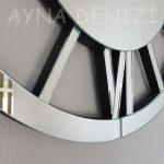 Circle Roma Silver Model Gümüş Renk Dekoratif Aynalı Duvar Saati-17