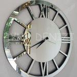 Circle Roma Silver Model Gümüş Renk Dekoratif Aynalı Duvar Saati-3