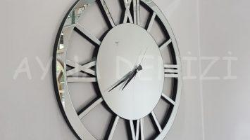 Circle Roma Silver Model Gümüş Renk Dekoratif Aynalı Duvar Saati