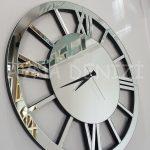 Circle Roma Silver Model Gümüş Renk Dekoratif Aynalı Duvar Saati-4