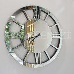 Circle Roma Silver Model Gümüş Renk Dekoratif Aynalı Duvar Saati-5