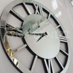 Circle Roma Silver Model Gümüş Renk Dekoratif Aynalı Duvar Saati-7