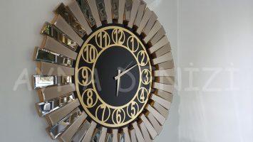 Güneş Golden Circle Black Model Altın Siyah Renk Aynalı Duvar Saati