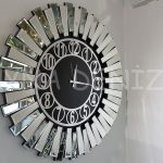 Güneş Silver Circle Black Model Gümüş Siyah Renk Dekoratif Aynalı Duvar Saati-1