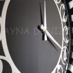 Güneş Silver Circle Black Model Gümüş Siyah Renk Dekoratif Aynalı Duvar Saati-14
