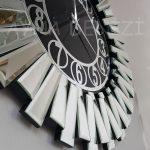 Güneş Silver Circle Black Model Gümüş Siyah Renk Dekoratif Aynalı Duvar Saati-16