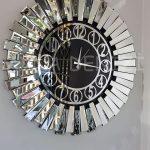 Güneş Silver Circle Black Model Gümüş Siyah Renk Dekoratif Aynalı Duvar Saati-2