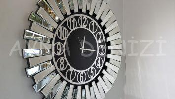 Güneş Silver Circle Black Model Gümüş Siyah Renk Aynalı Duvar Saati