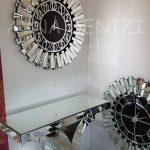 Güneş Silver Circle Black Model Gümüş Siyah Renk Dekoratif Aynalı Duvar Saati-4