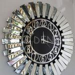 Güneş Silver Circle Black Model Gümüş Siyah Renk Dekoratif Aynalı Duvar Saati-5