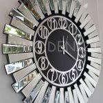 Güneş Silver Circle Black Model Gümüş Siyah Renk Dekoratif Aynalı Duvar Saati-7