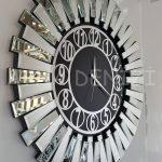 Güneş Silver Circle Black Model Gümüş Siyah Renk Dekoratif Aynalı Duvar Saati-8
