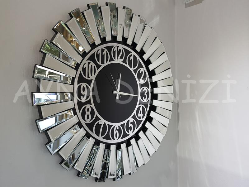 Güneş Silver Circle Black Model Gümüş Siyah Renk Dekoratif Aynalı Duvar Saati