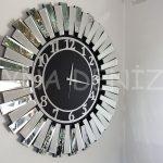 Güneş Silver Latin Black Model Gümüş Siyah Renk Dekoratif Aynalı Duvar Saati-1