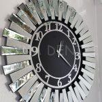 Güneş Silver Latin Black Model Gümüş Siyah Renk Dekoratif Aynalı Duvar Saati-10