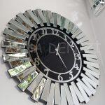Güneş Silver Latin Black Model Gümüş Siyah Renk Dekoratif Aynalı Duvar Saati-11