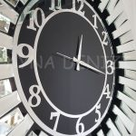 Güneş Silver Latin Black Model Gümüş Siyah Renk Dekoratif Aynalı Duvar Saati-13