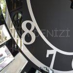 Güneş Silver Latin Black Model Gümüş Siyah Renk Dekoratif Aynalı Duvar Saati-14