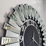 Güneş Silver Latin Black Model Gümüş Siyah Renk Dekoratif Aynalı Duvar Saati-16