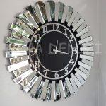 Güneş Silver Latin Black Model Gümüş Siyah Renk Dekoratif Aynalı Duvar Saati-2