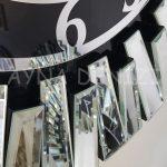 Güneş Silver Latin Black Model Gümüş Siyah Renk Dekoratif Aynalı Duvar Saati-20