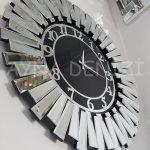 Güneş Silver Latin Black Model Gümüş Siyah Renk Dekoratif Aynalı Duvar Saati-3