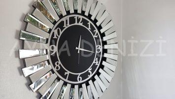 Güneş Silver Latin Black Model Gümüş Siyah Renk Aynalı Duvar Saati