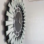 Güneş Silver Latin Black Model Gümüş Siyah Renk Dekoratif Aynalı Duvar Saati-7