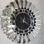 Güneş Silver Latin Black Model Gümüş Siyah Renk Dekoratif Aynalı Duvar Saati-8