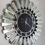 Güneş Silver Latin Black Model Gümüş Siyah Renk Dekoratif Aynalı Duvar Saati-9