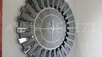 Güneş Silver Smoked Model Gümüş Füme Renk Aynalı Duvar Saati