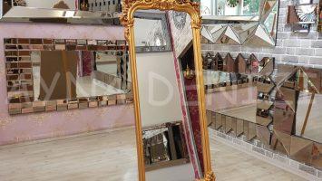 Vintage Madam Model Altın Renk Ayaklı Boy Aynası
