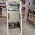 Vintage Madam Model Beyaz Altın Renk Ayaklı Boy Aynası-11