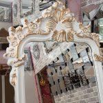 Vintage Madam Model Beyaz Altın Renk Ayaklı Boy Aynası-12