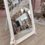 Vintage Madam Model Beyaz Altın Renk Ayaklı Boy Aynası-15