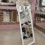 Vintage Madam Model Beyaz Altın Renk Ayaklı Boy Aynası-5