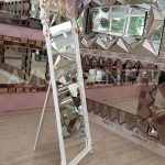 Vintage Madam Model Beyaz Altın Renk Ayaklı Boy Aynası-6