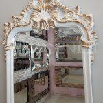 Vintage Madam Model Beyaz Altın Renk Boy Aynası-10