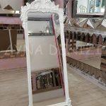 Vintage Madam Model Beyaz Renk Ayaklı Boy Aynası-4