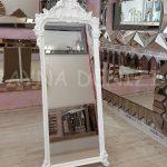 Vintage Madam Model Beyaz Renk Ayaklı Boy Aynası-7