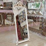 Vintage Madam Model Eskitme Beyaz Renk Ayaklı Boy Aynası-1