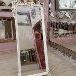 Vintage Madam Model Eskitme Beyaz Renk Ayaklı Boy Aynası-2