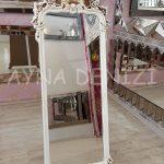 Vintage Madam Model Eskitme Beyaz Renk Ayaklı Boy Aynası-4