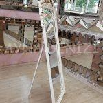 Vintage Madam Model Eskitme Beyaz Renk Ayaklı Boy Aynası-5